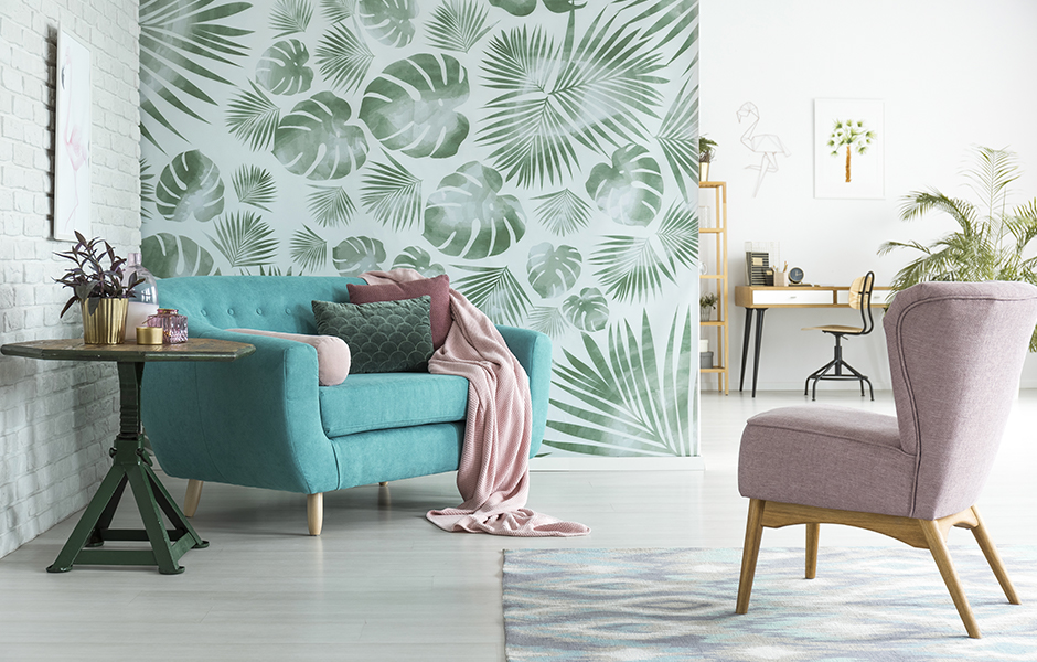 Living Room With Plant Wallpaper
