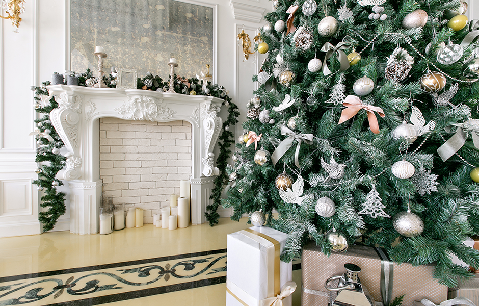 Holiday home decorated with silver and gold