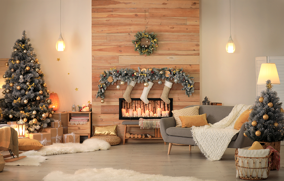 Holiday home decorated with layers of lighting