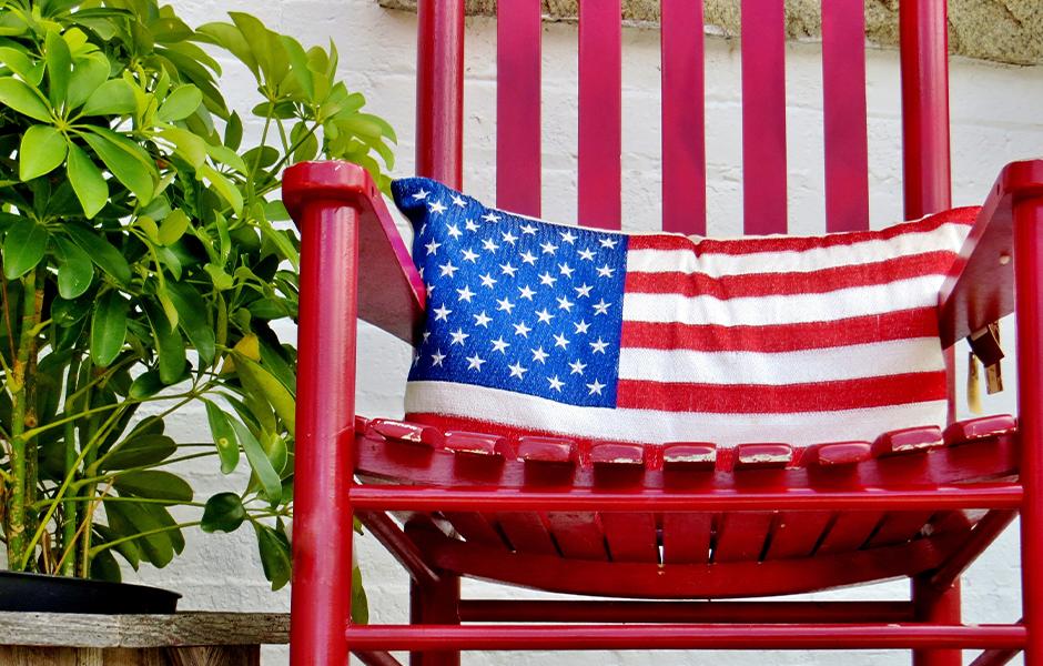 American flag outdoor cushion