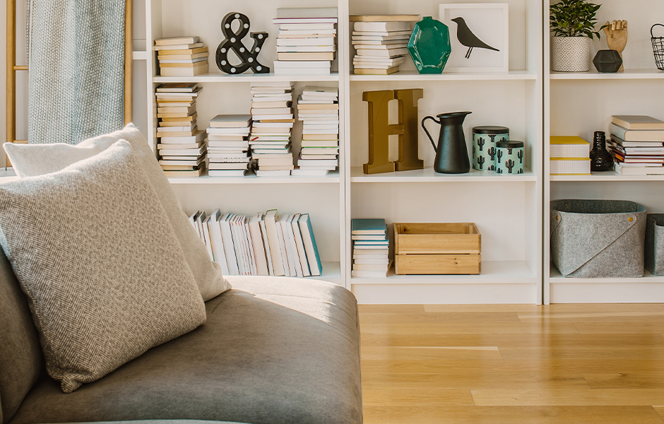Bookcase as living room wall decor