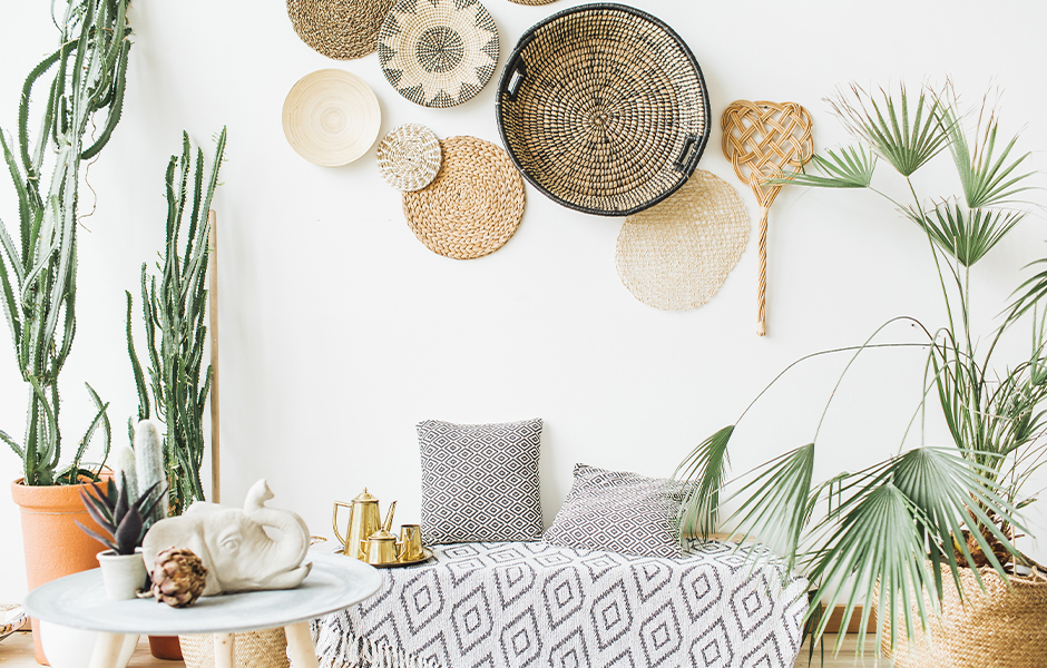 Woven baskets for living room wall accent